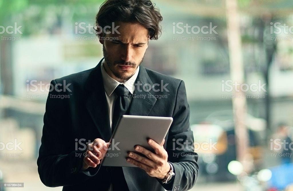 Businessman man using digital tablet stock photo