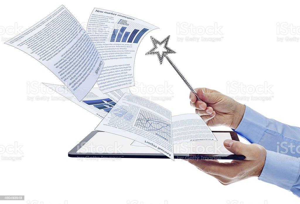 Businessman managing electronic documents stock photo
