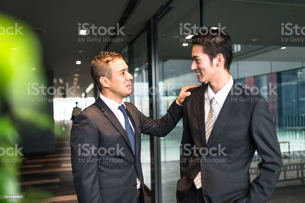 businessman meeting on the financial district building stock photo