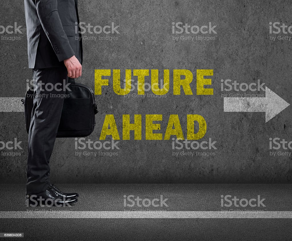 Businessman moving to success ahead in business. stock photo
