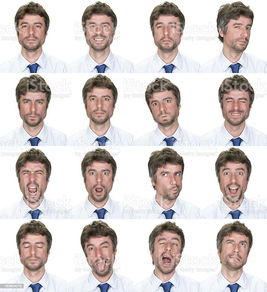 Businessman multiple expression image on white background stock photo