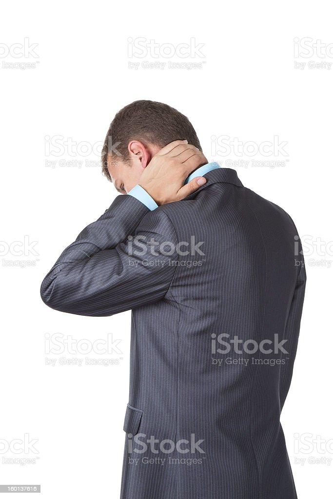Businessman neck pain royalty-free stock photo