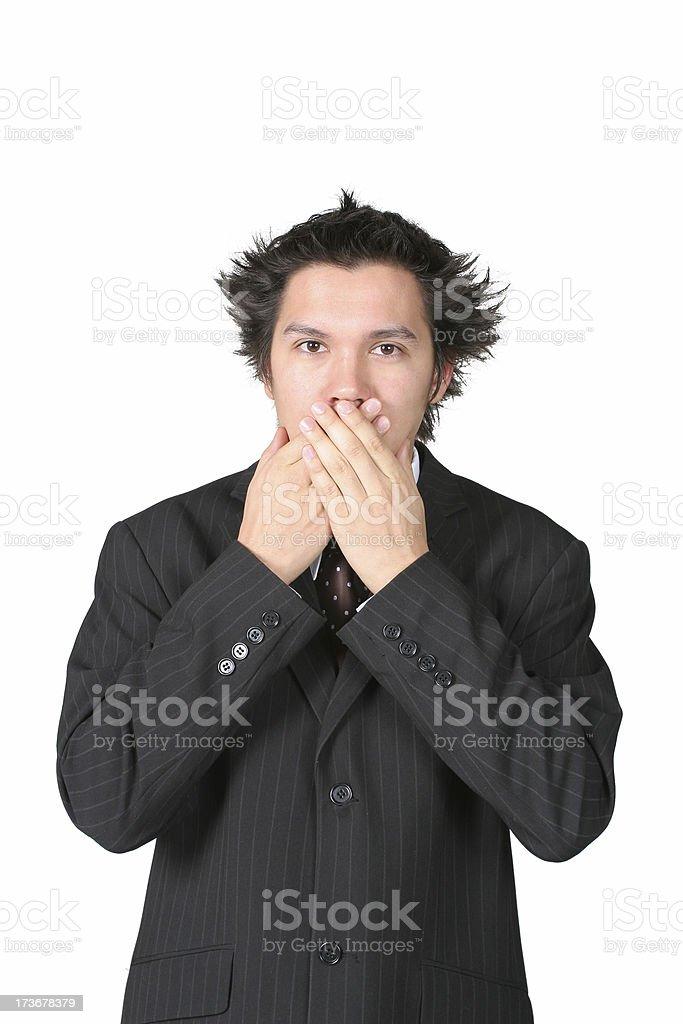 Businessman not talking stock photo
