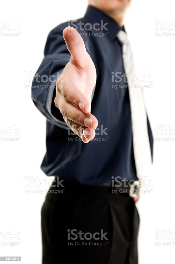 Businessman offering for handshake, isolated on white royalty-free stock photo