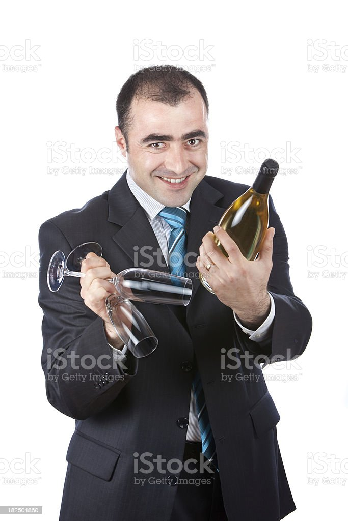Businessman Offering Wine royalty-free stock photo