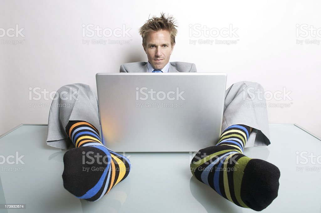 Businessman Office Worker Comfortable Typing on Laptop royalty-free stock photo