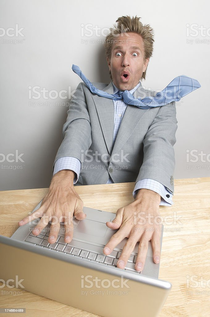Businessman Office Worker Looking Surprised on Laptop Computer royalty-free stock photo