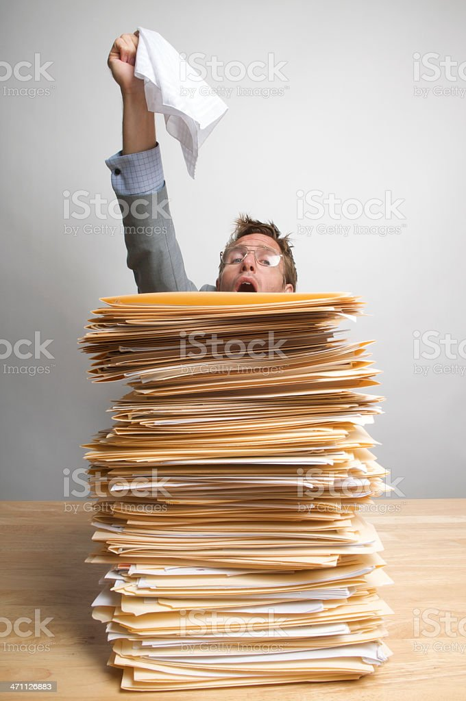 Businessman Office Worker Raising the White Flag Inbox Surrender stock photo