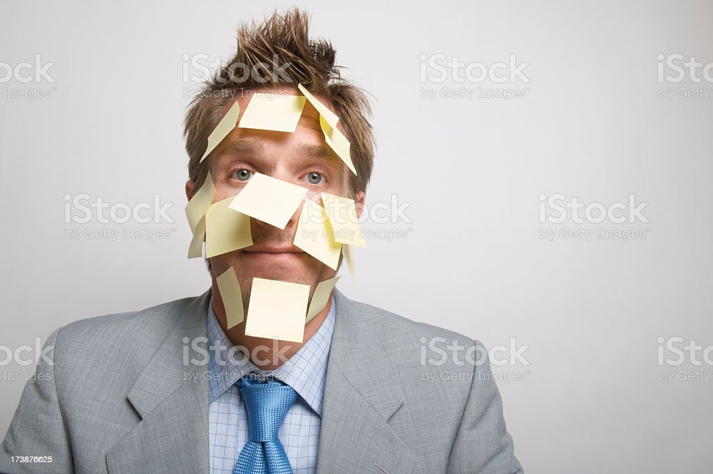 Businessman Office Worker Yellow Sticky Reminder Mess White Wall royalty-free stock photo