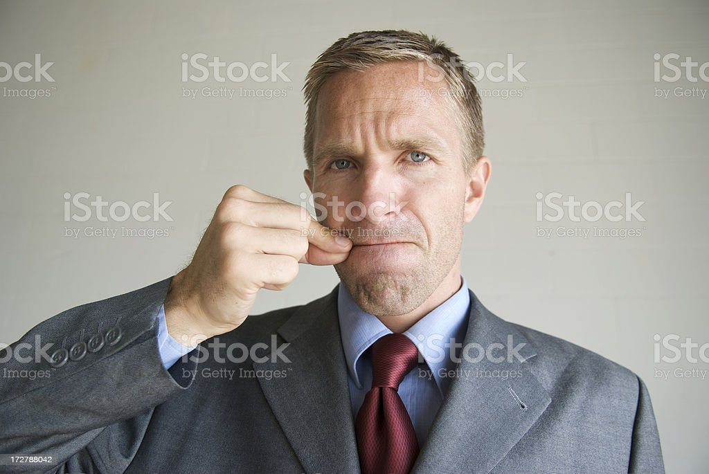 Businessman Office Worker Zips His Mouth to Keep Secret stock photo