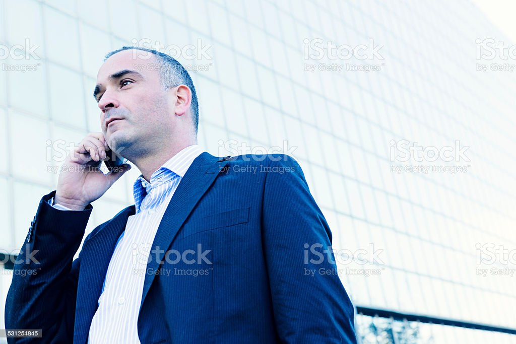 Businessman on a Cellphone stock photo