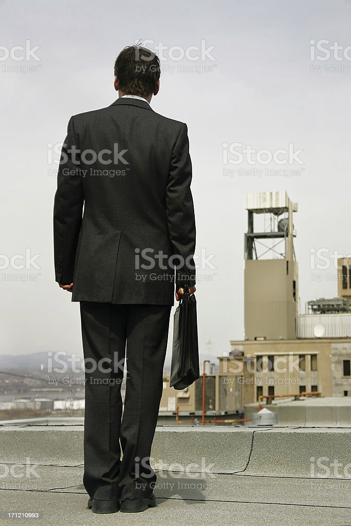 Businessman on a roof royalty-free stock photo
