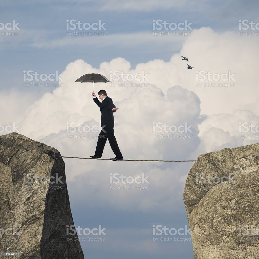 Businessman on a rope royalty-free stock photo