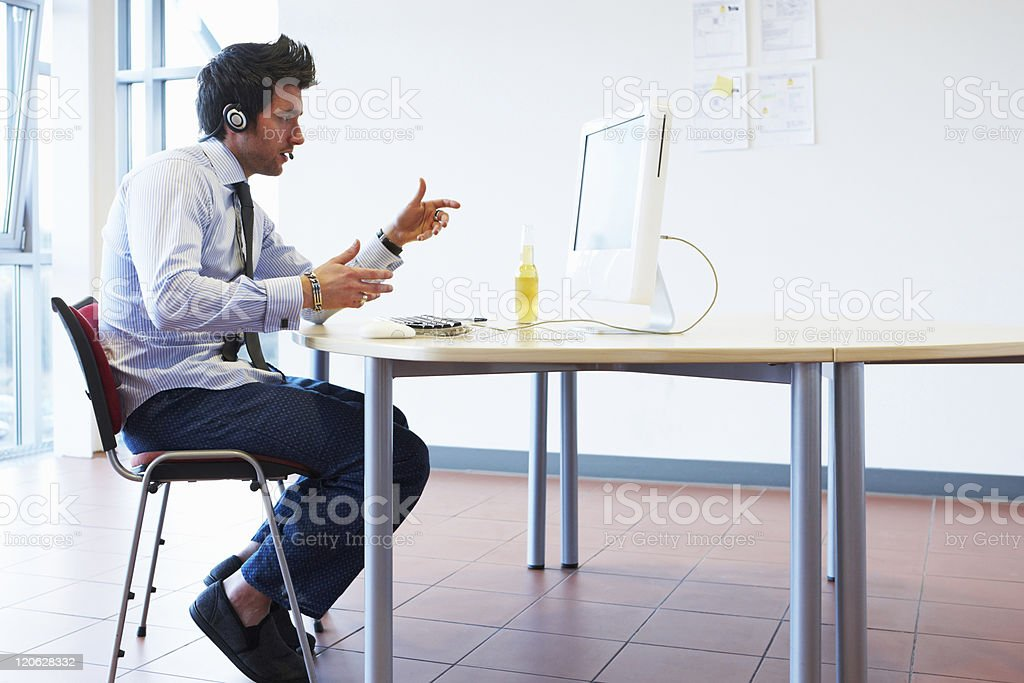 Businessman on a Video Call royalty-free stock photo