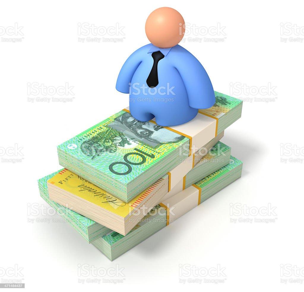 Businessman on Australian Dollars stock photo