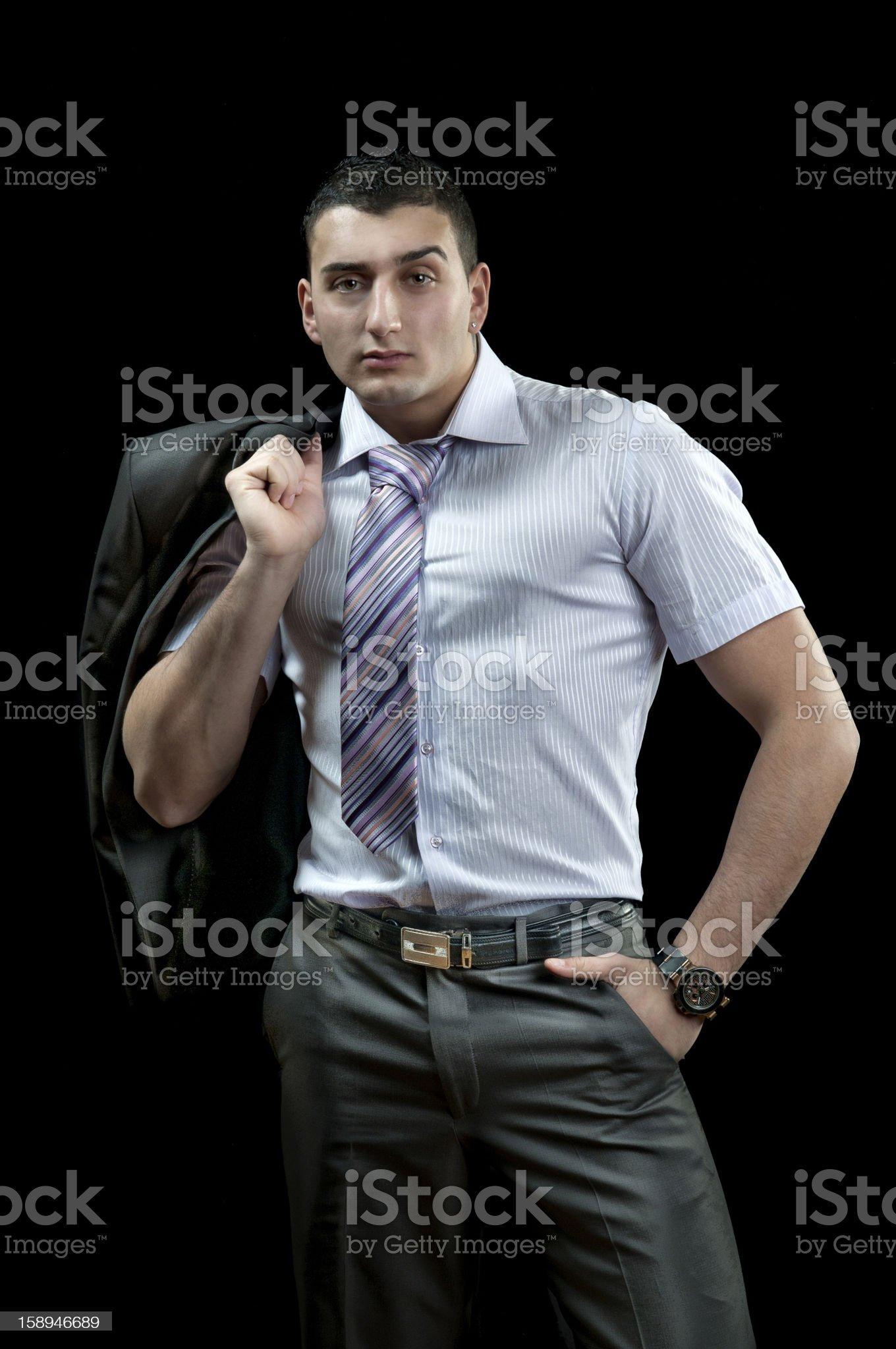 Businessman on black royalty-free stock photo