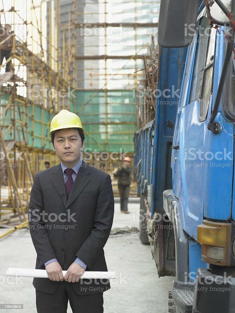 Businessman on building site royalty-free stock photo