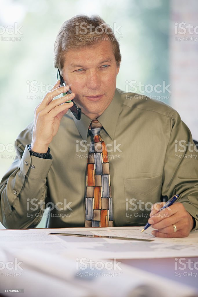 Businessman On Cellphone In The Office royalty-free stock photo