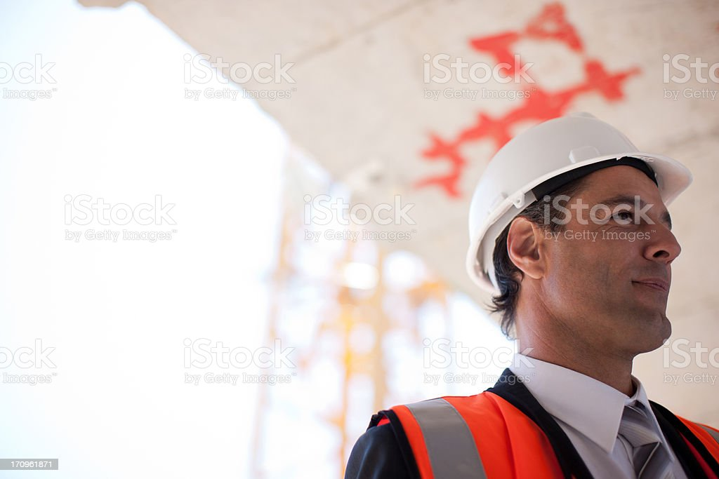 Businessman on construction site royalty-free stock photo
