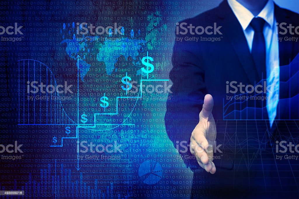 Businessman on finance background stock photo