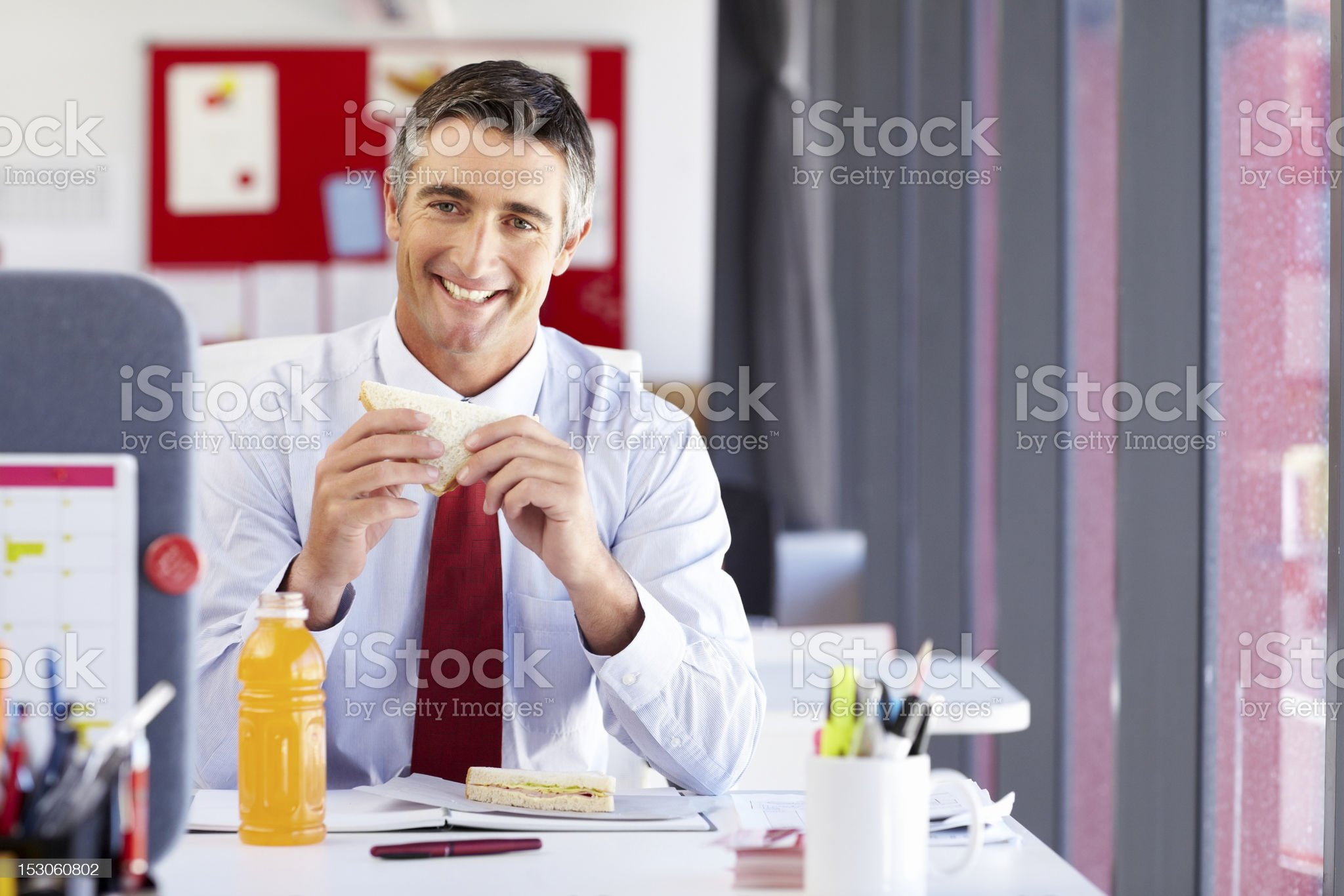 Businessman on His Lunch Break royalty-free stock photo