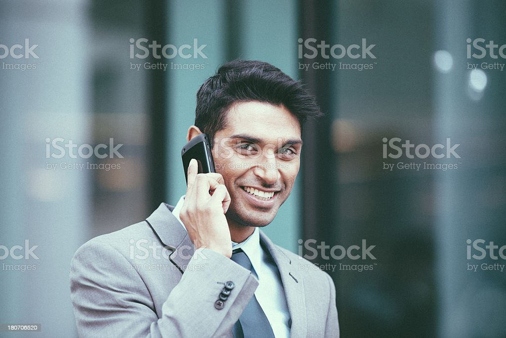 Businessman on mobile phone royalty-free stock photo