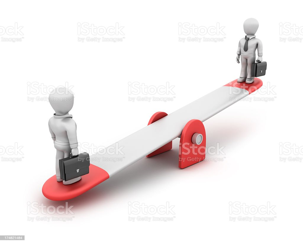 Businessman on Seesaw royalty-free stock photo