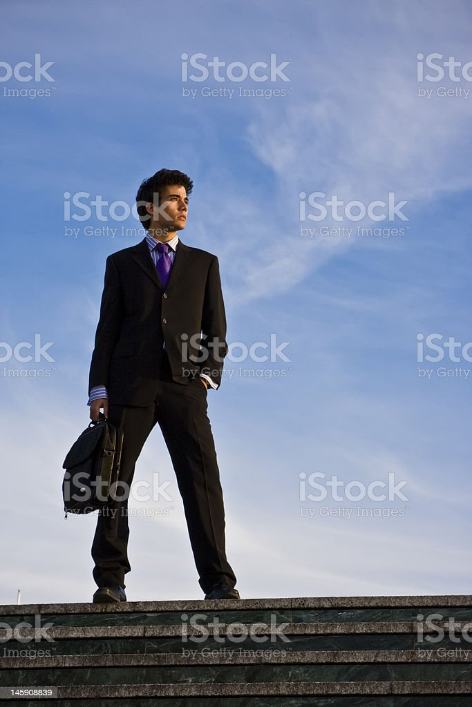 Businessman on stairs royalty-free stock photo