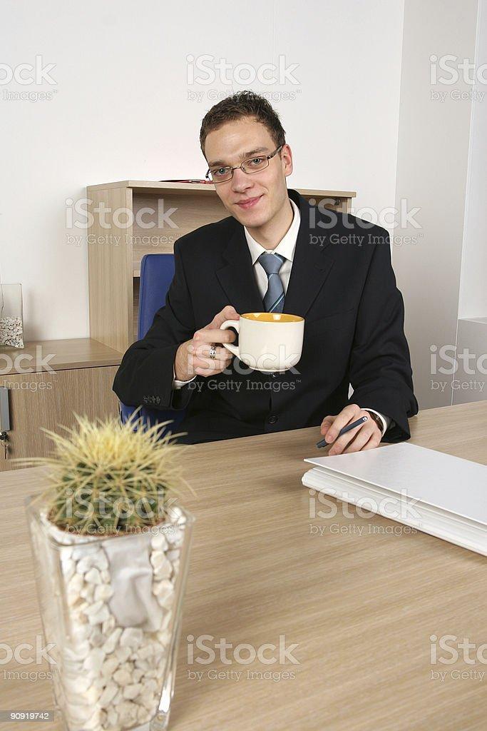 Businessman on tea break royalty-free stock photo