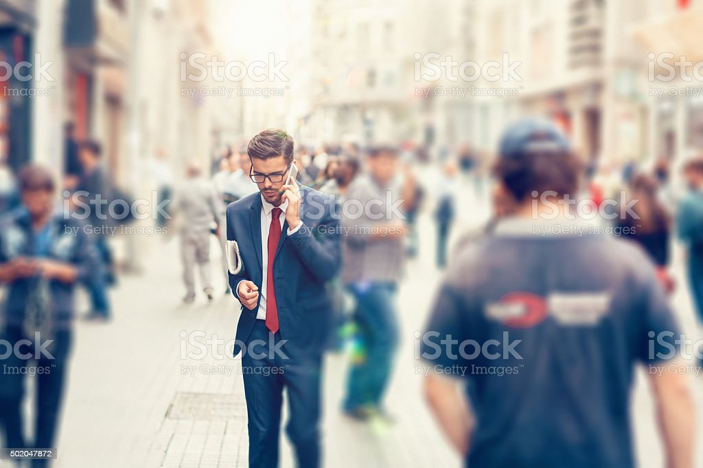 Businessman on the phone in Istanbul stock photo