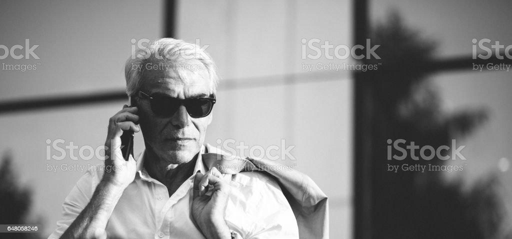 Businessman on the phone stock photo