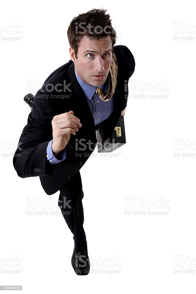 Businessman on the run royalty-free stock photo