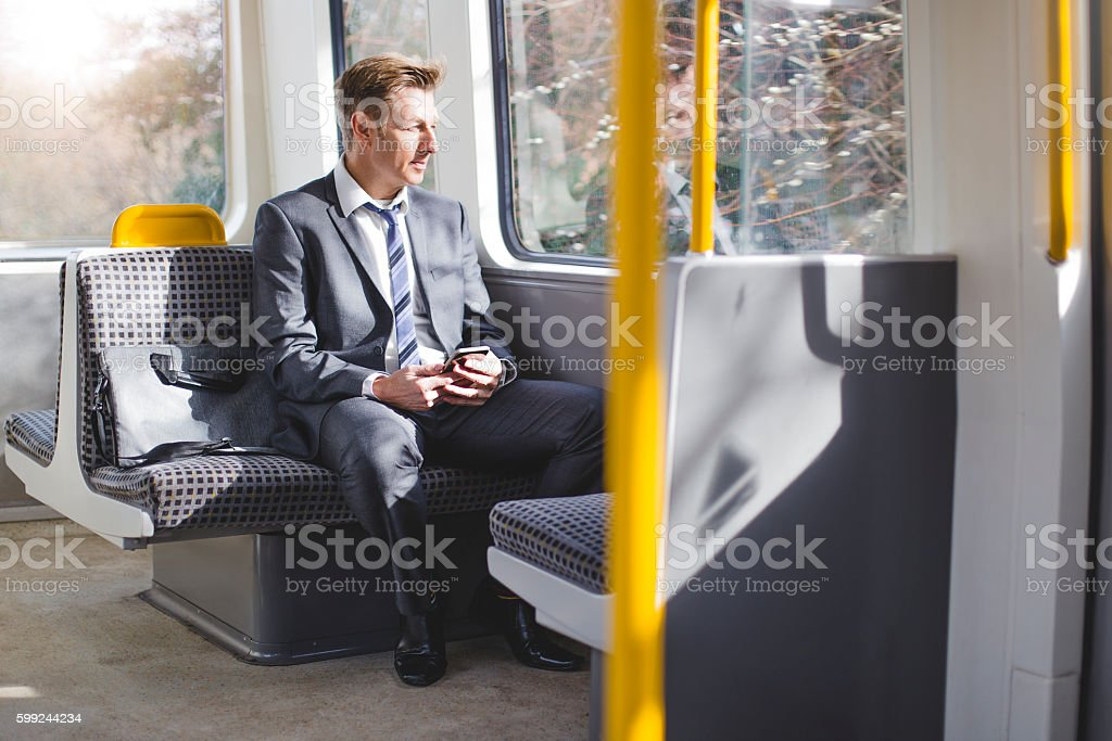 Businessman on the Train stock photo