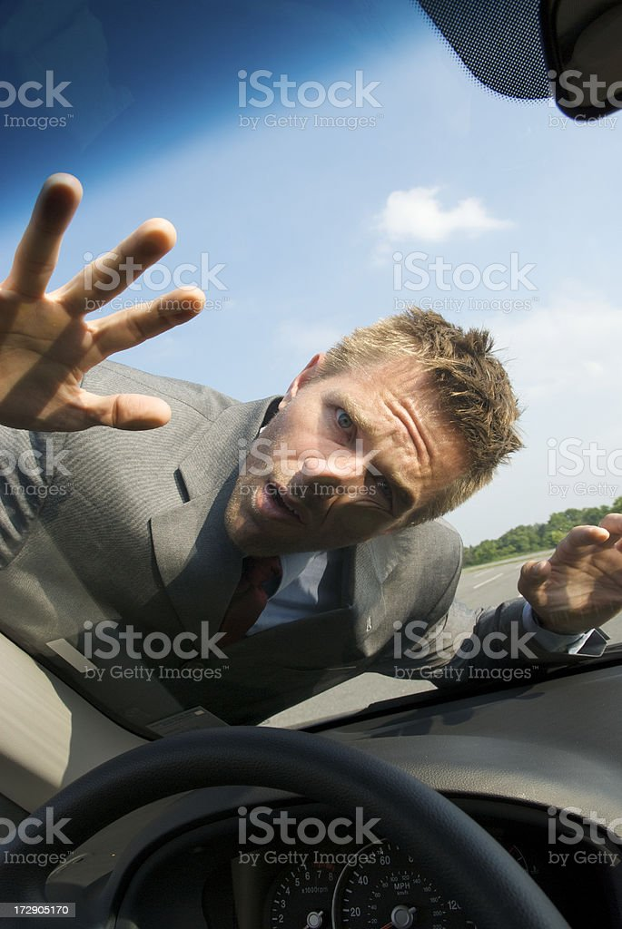 Businessman on the Windshield royalty-free stock photo