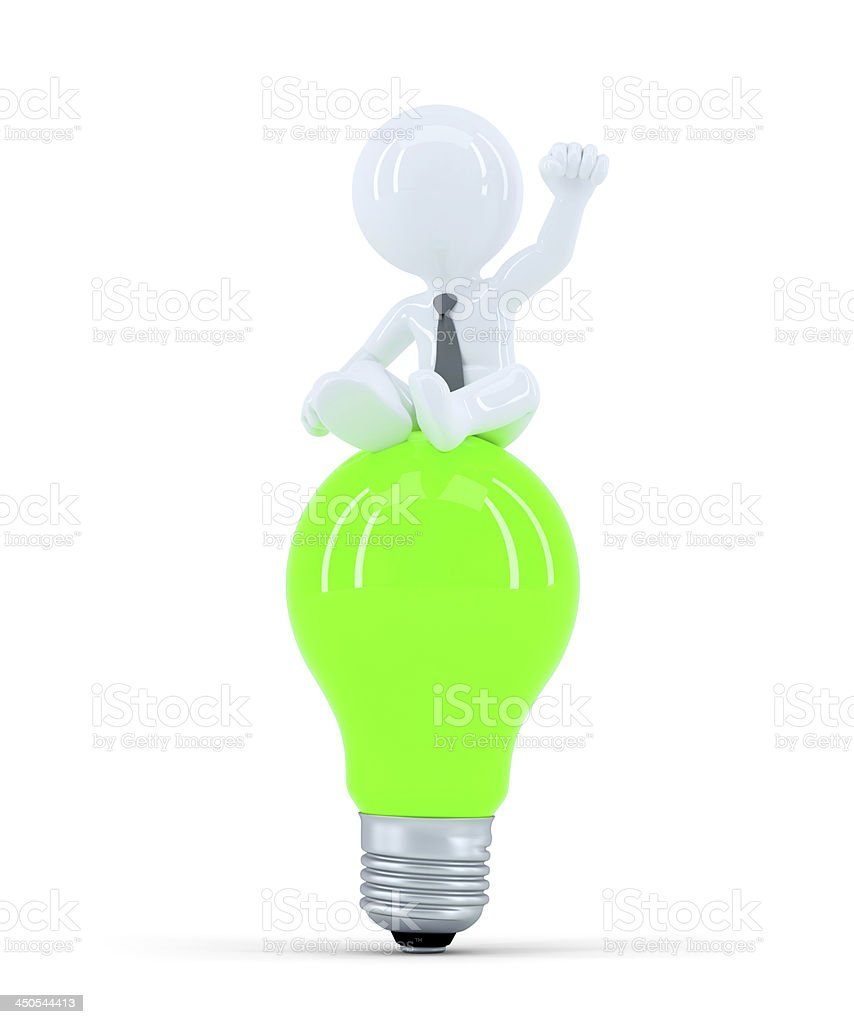 Businessman on top of the green bulb. Business idea concept royalty-free stock photo