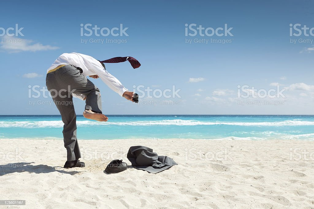 Businessman on Vacation in Caribbean Beach Hz.jpg royalty-free stock photo