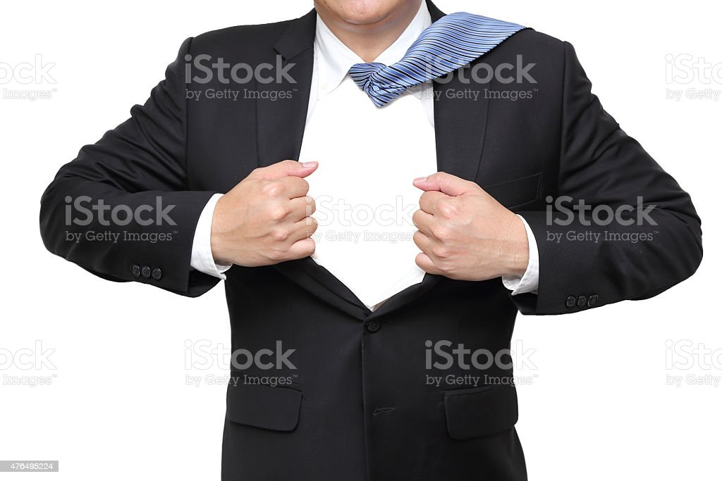 businessman open his suit showing blank space stock photo