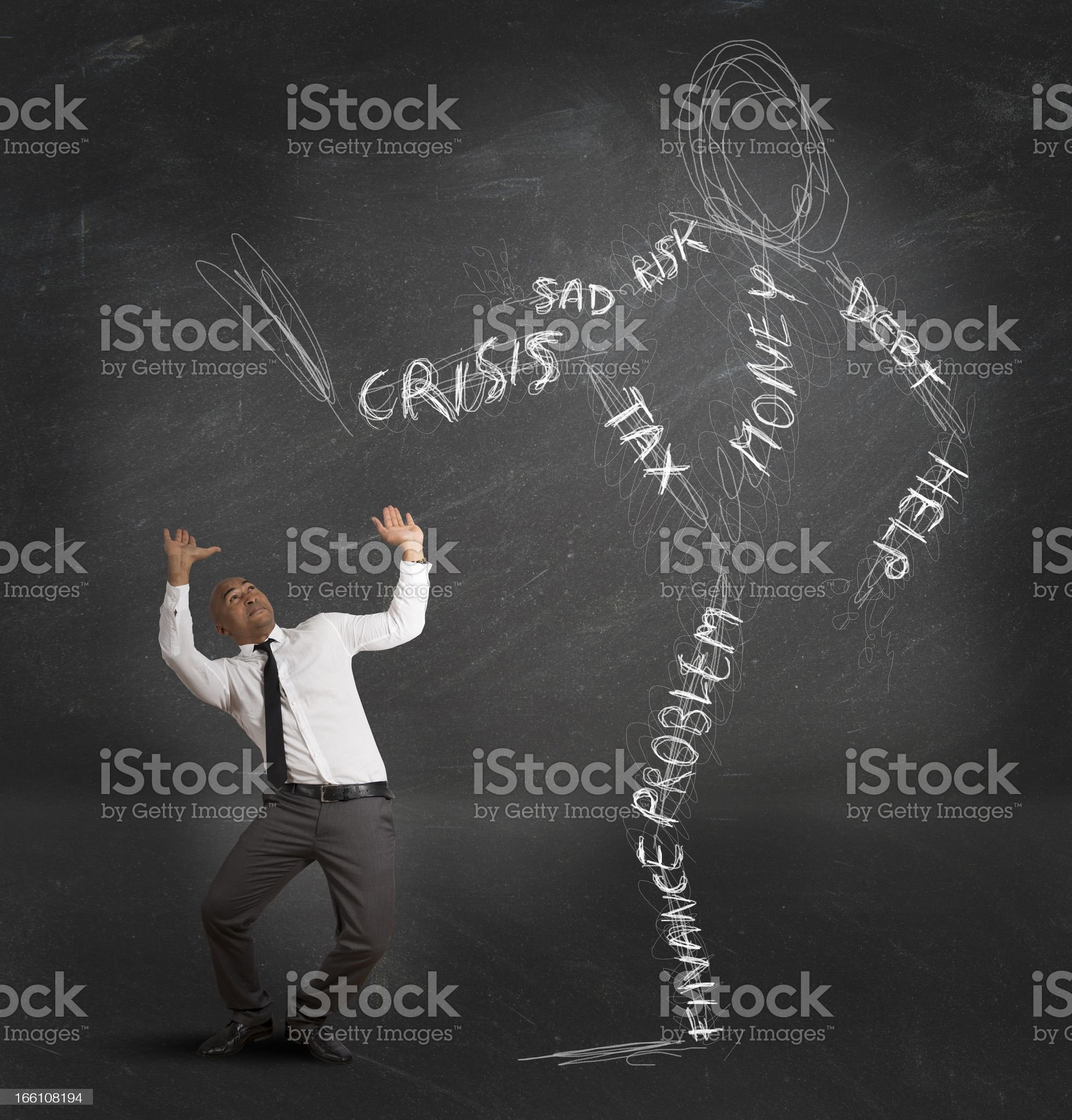 Businessman oppressed by the crisis royalty-free stock photo