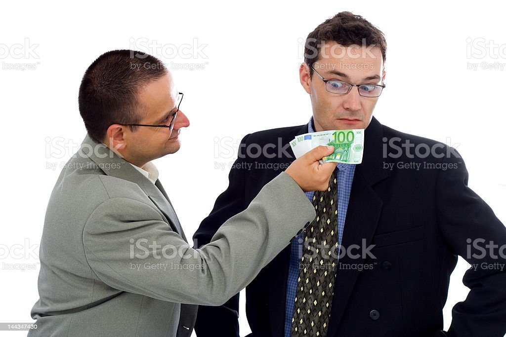 Businessman or politician bribe royalty-free stock photo