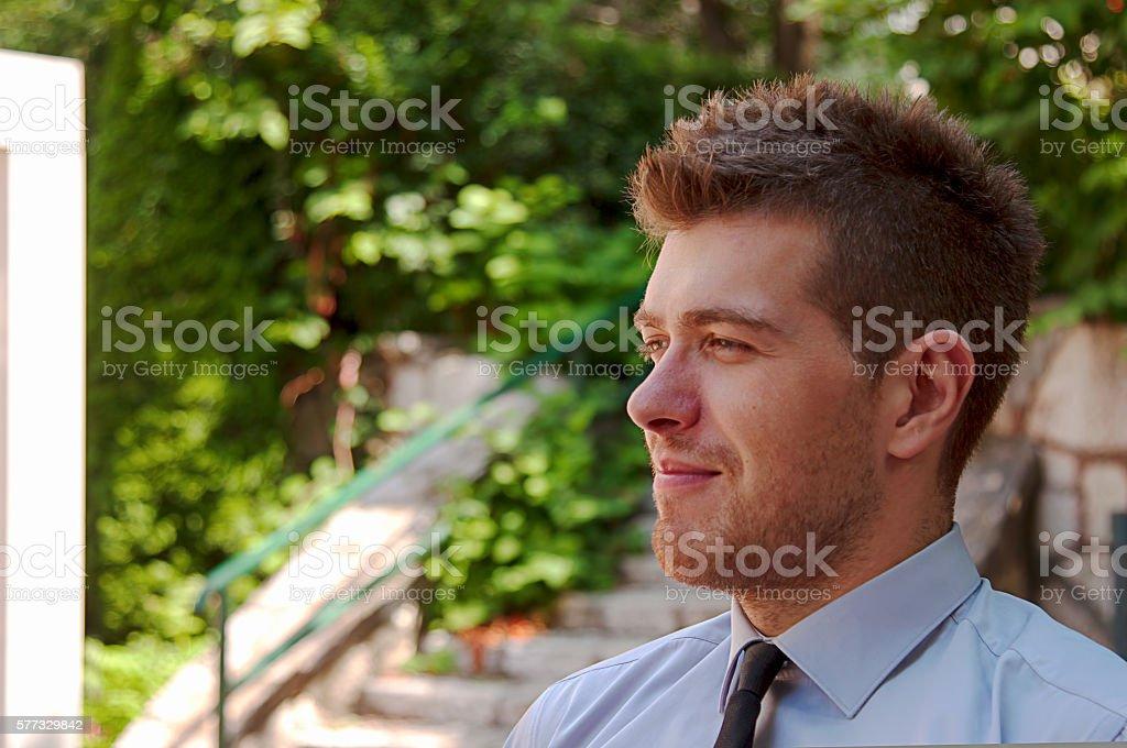 Ritratto di uomo d'affari all'aperto foto stock royalty-free