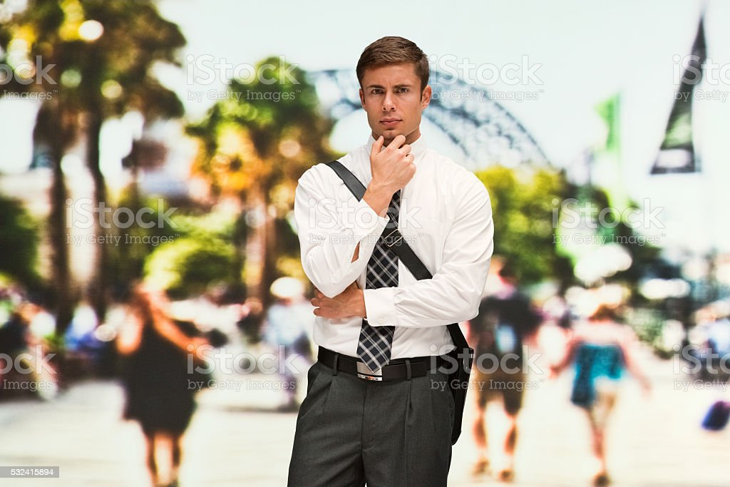 Businessman outdoors in the city stock photo