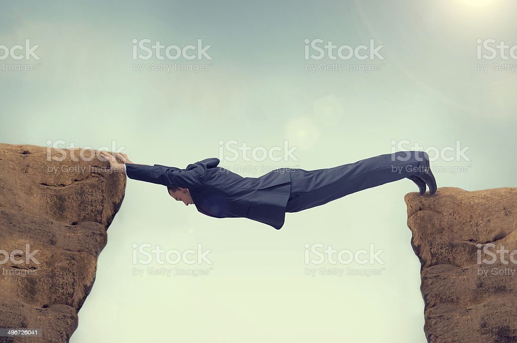 businessman over stretched stock photo