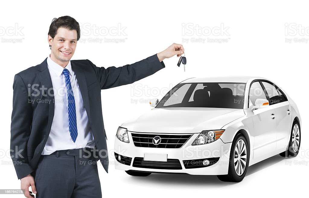 Businessman owner the luxury car royalty-free stock photo