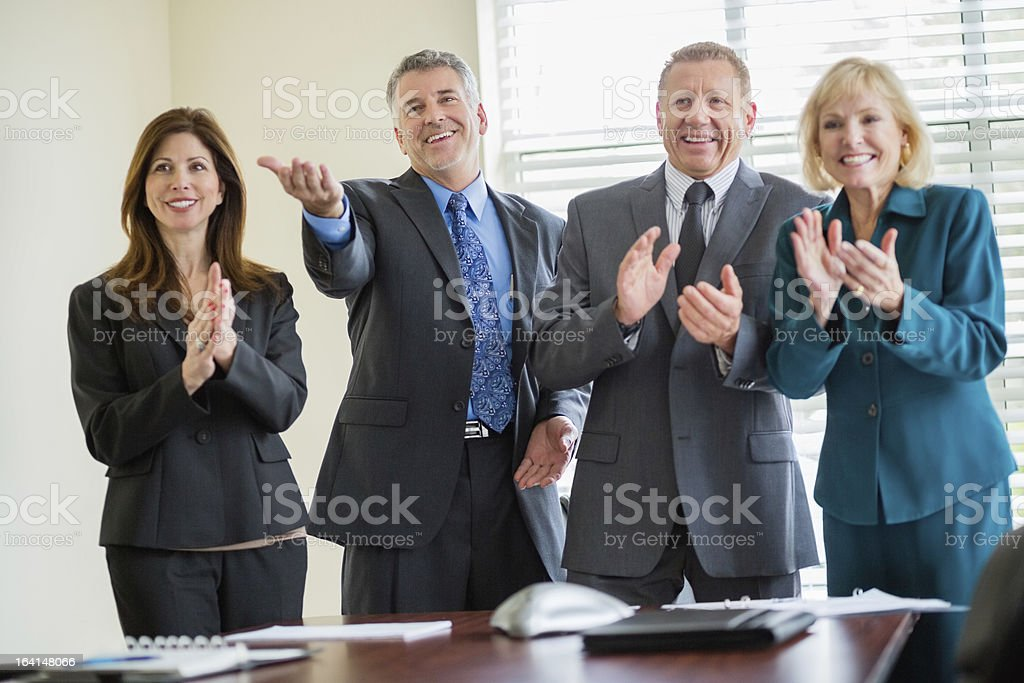 Businessman People Applauding In Board Room royalty-free stock photo