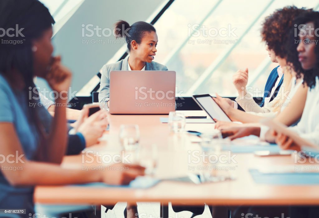 Businessman people at office meeting stock photo