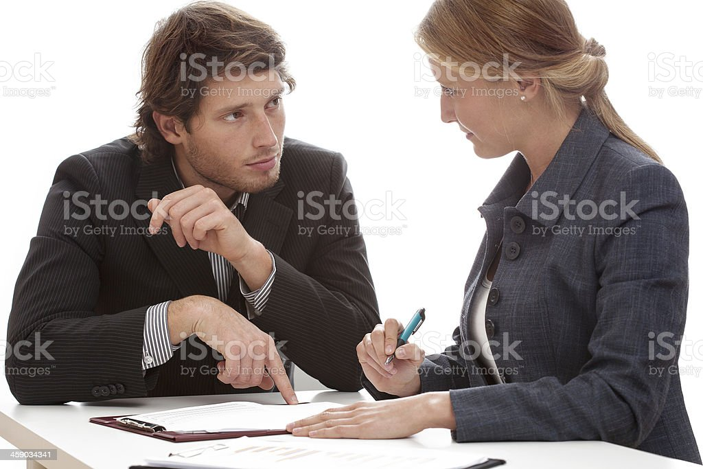 Businessman persuading to signing a contract stock photo