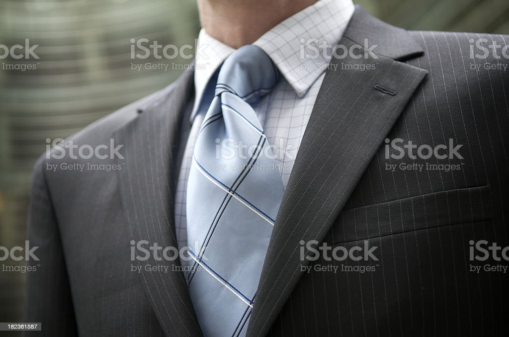 Businessman Pinstripe Suit Blue Tie Outdoors Close-Up stock photo