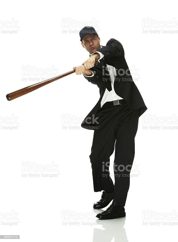 Businessman playing baseball royalty-free stock photo