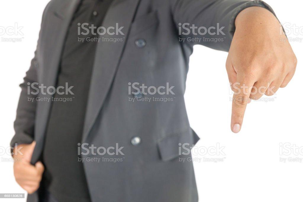 businessman point finger down stock photo