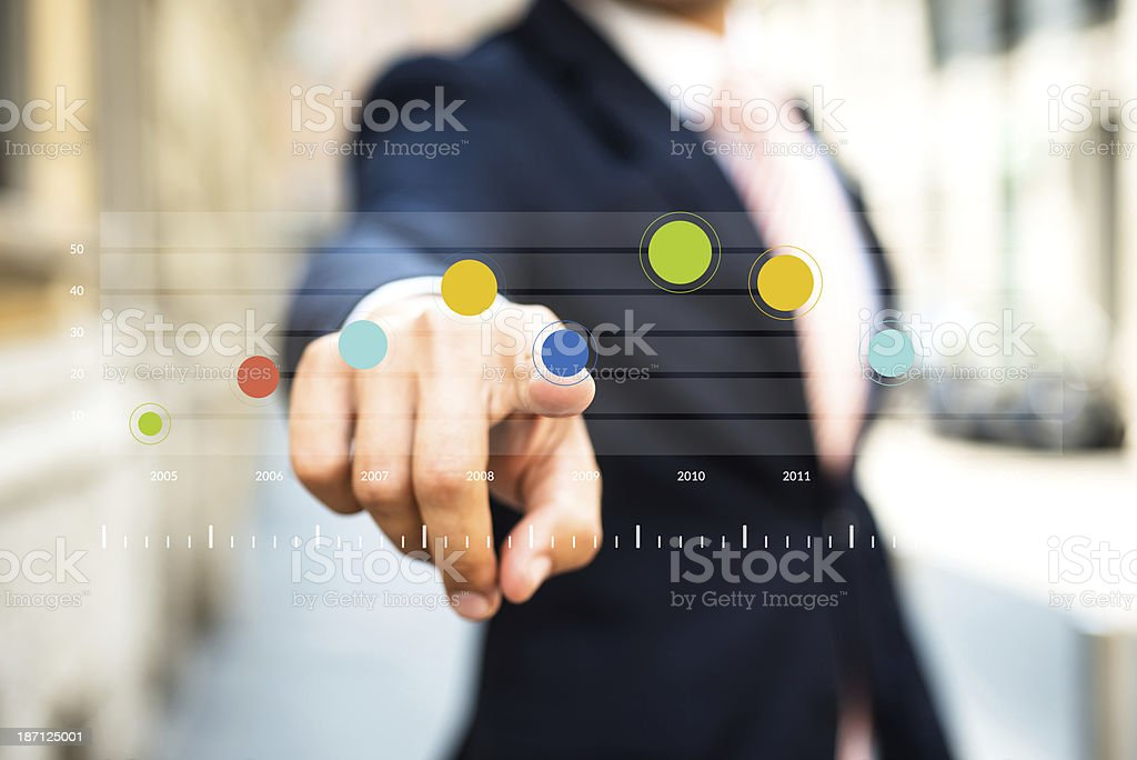 Businessman Pointing a Chart royalty-free stock photo